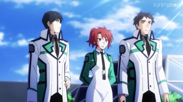 The Irregular at Magic High School: Visitor Arc Episode 9: Mikihiko, Erika, and Leonhart have to report a failure to Tatsuya.