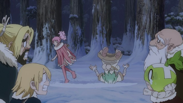 Dr. Stone Season 2 Episode 2: Homura just shrugged Senkuu off.