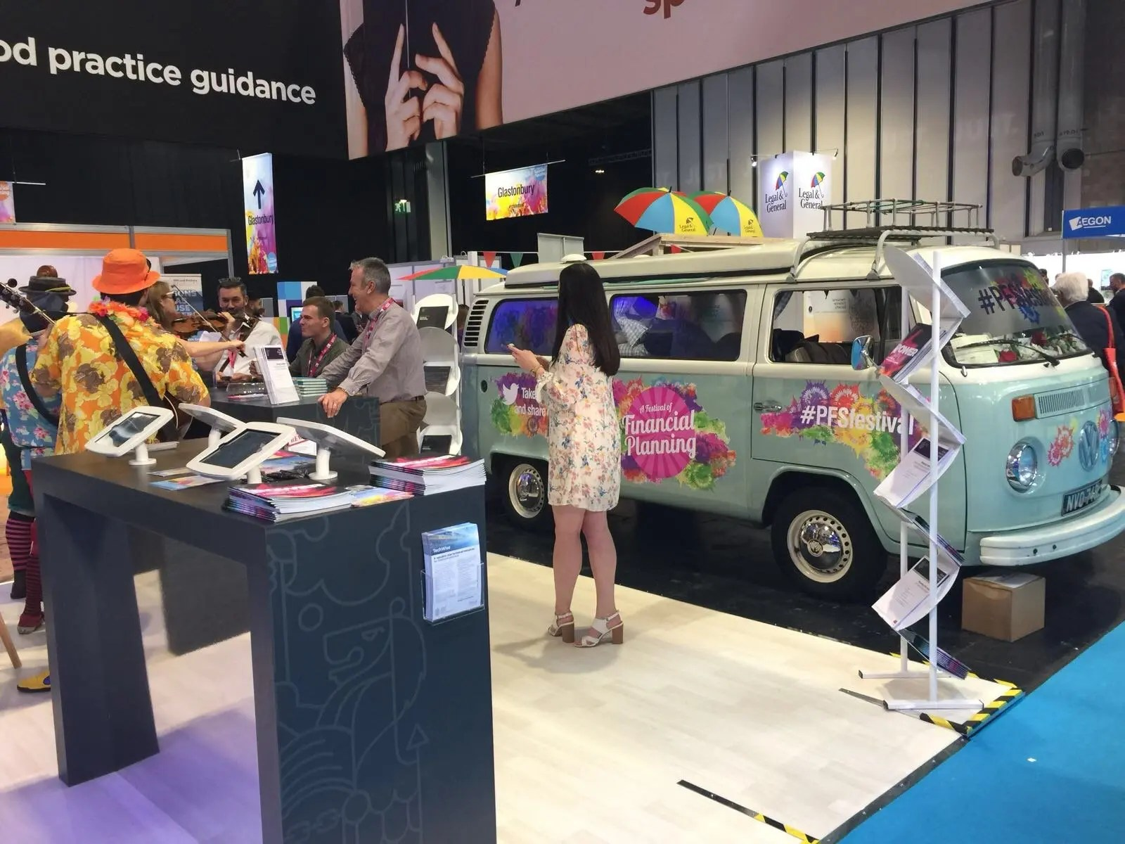 Branded campervan exhibition stand