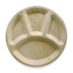 12 inches round areca plate with 4 compartment