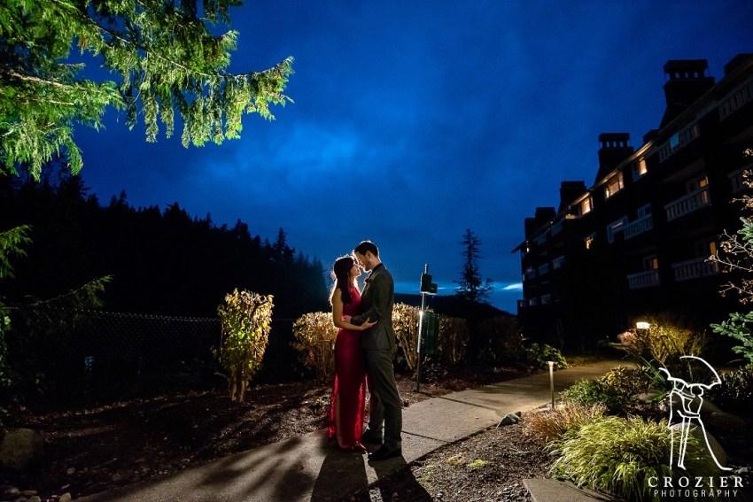 night wedding at Salish lodge