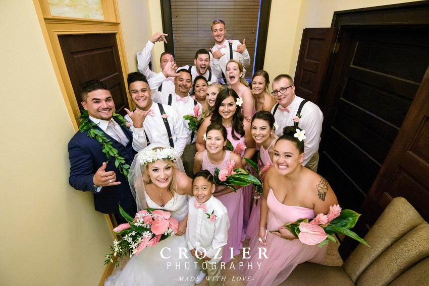 bridal party in the getting ready room at the feather ballroom