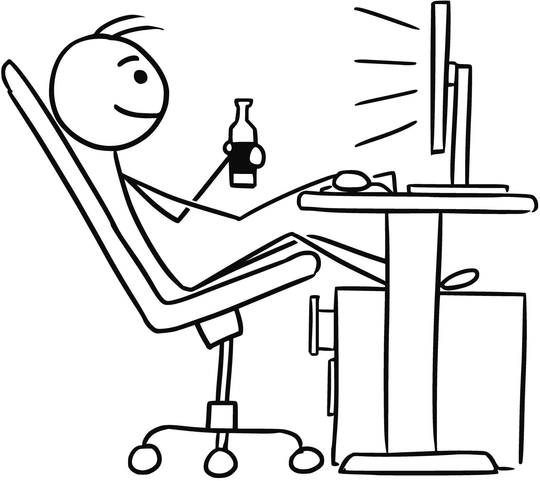 Cartoon Of Man Sitting In Front Of Computer And Drinking A