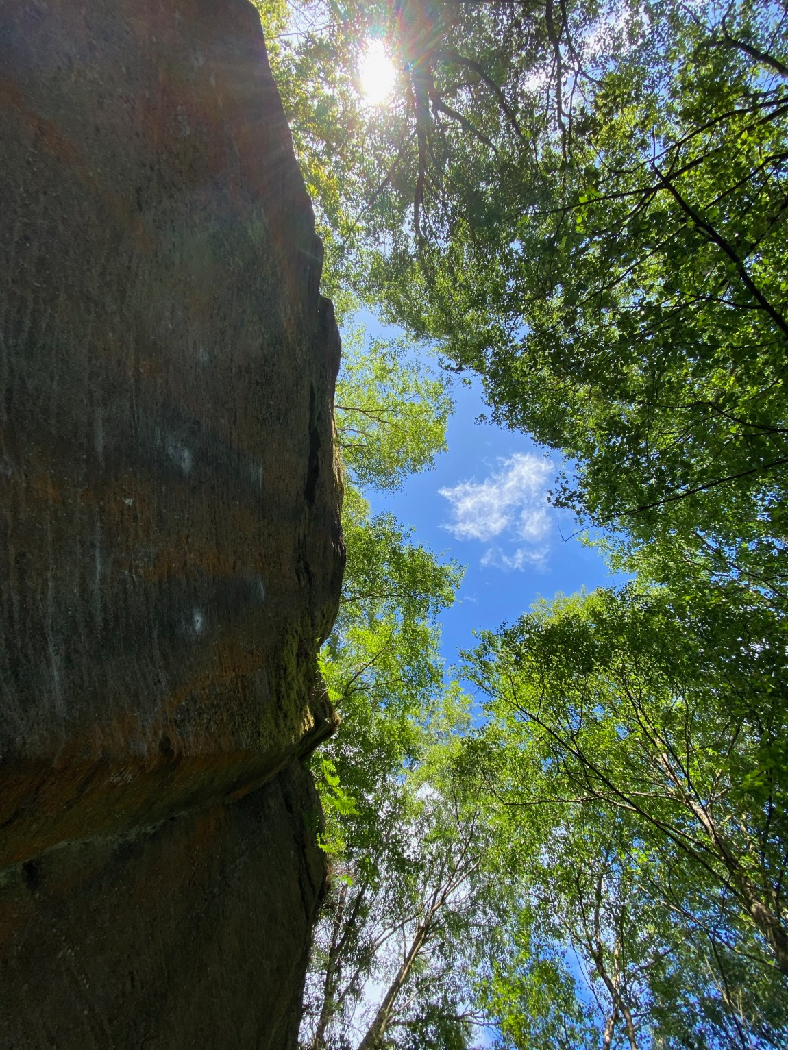 Looking up at sky with boulder