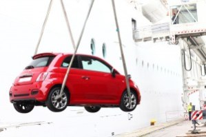 The Fiat 500 being loaded onboard the MSC Divina in Venice, Italy.