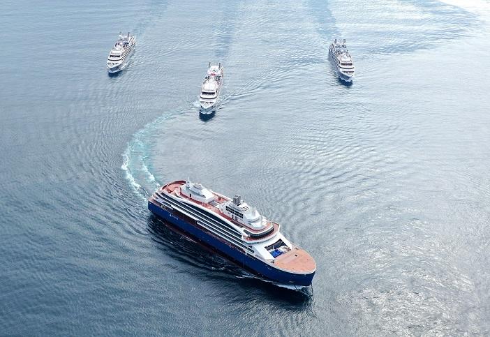 N°-74_Drone-AUSTRAL_Sisterships-et-Cdt-Charcot_Gibraltar©Sacha-Lalane-Kopie Luxus-Eisbrecher LE COMMANDANT CHARCOT – die erste Reise