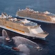 Allure of the Seas meeting Oasis of the Seas