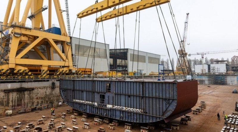 Kiellegging voor Ryndam bij Fincantieri in Marghera