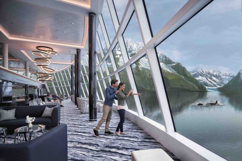 Observation Lounge with whales in Alaska