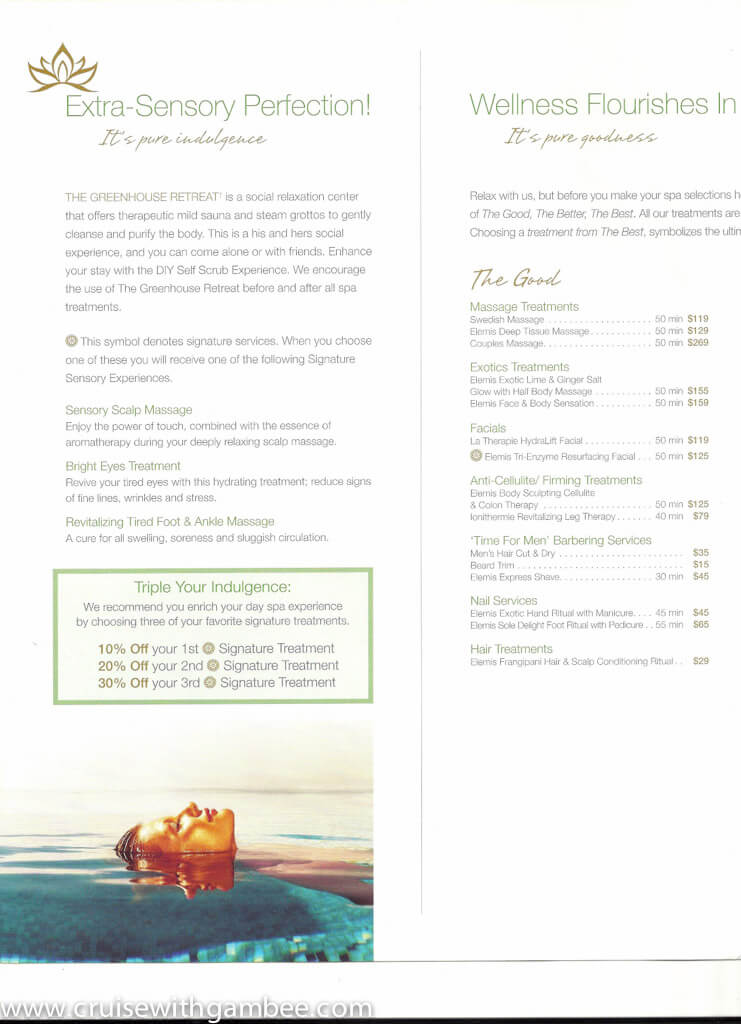 HAL Holland America Spa Products And Prices Cruise