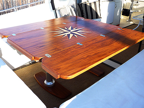 Teak And Plastic Cockpit Tables For Sailboats Tag Line