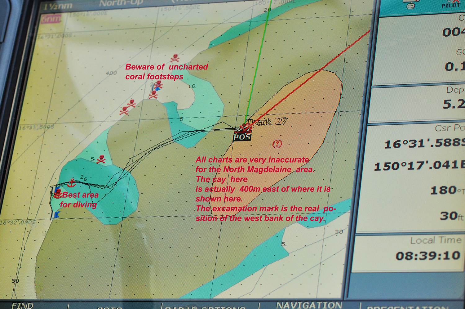 Beware -- Charts are very inaccurate for North Magdeaine cay and Reefs.