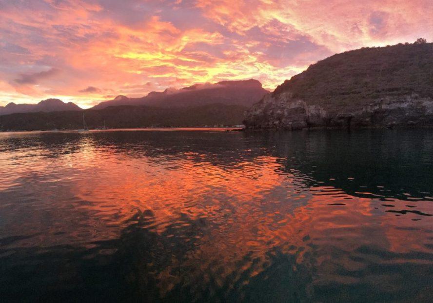 Fiery sunset over the Sierra de la Giganta range from San Evaristo