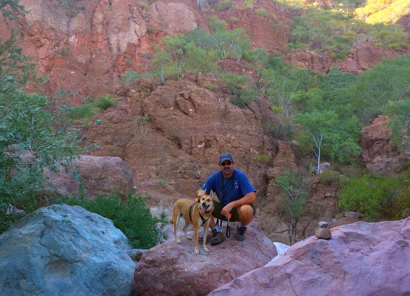 Adam N Foxy boulder hopping through Steinbeck Canyon