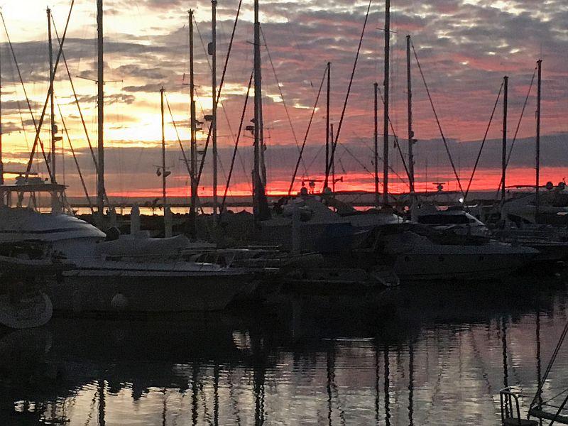 Sunset at Marina Palmira upon return to La Paz
