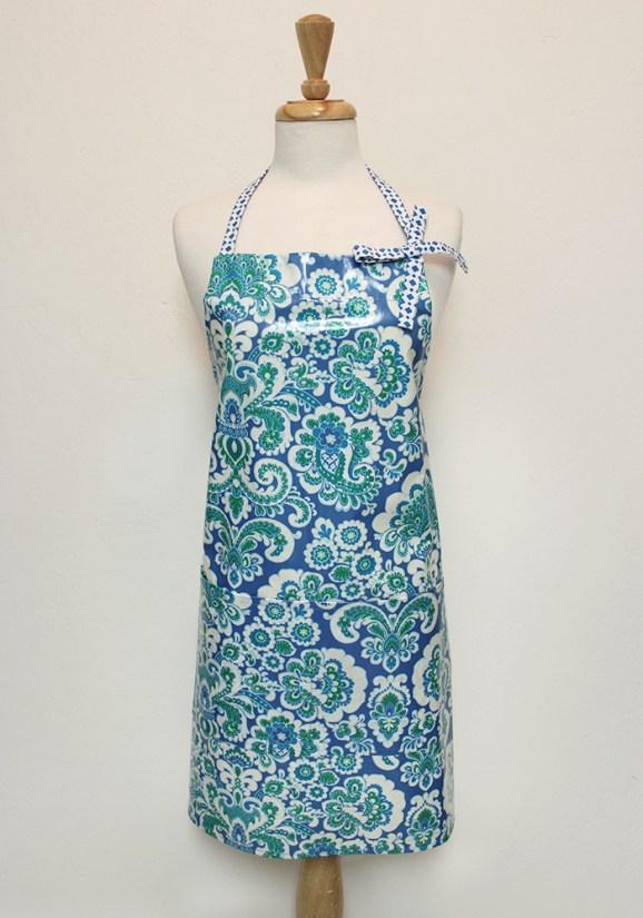Audrey Apron in Blue Paisley Cotton Laminate