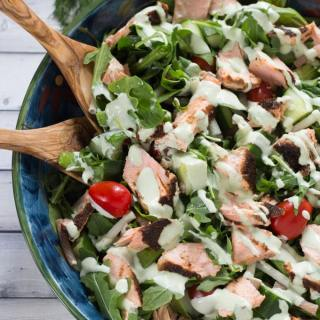 Spicy Salmon Pasta Salad with Mixed Greens and Creamy Dill Dressing
