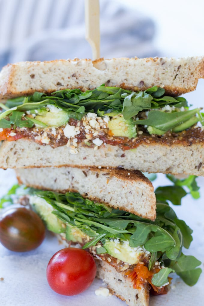 Messy Tomato Jam Sandwich with Avocado and Arugula