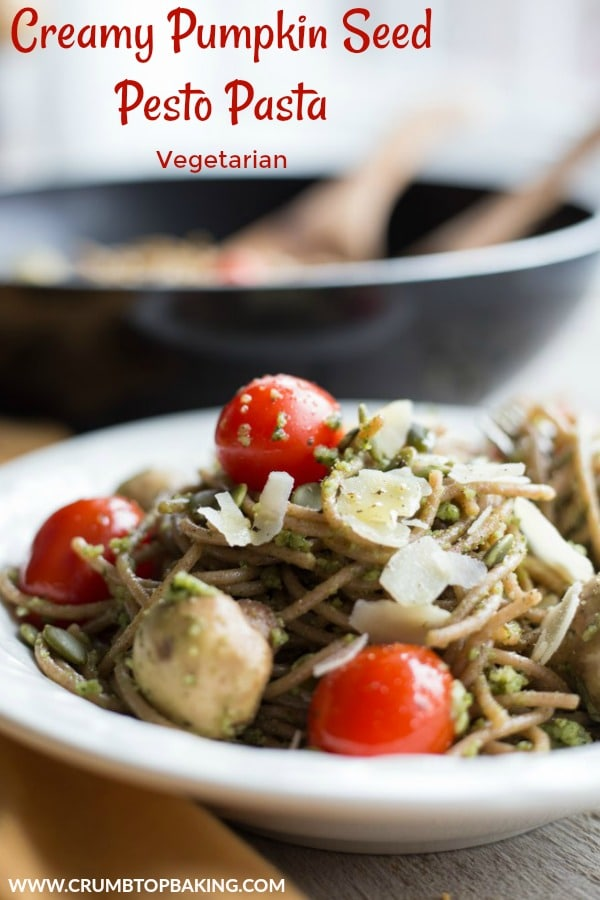 Pinterest image for Creamy Pumpkin Seed Pesto Pasta.
