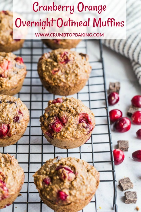 Pinterest image for Cranberry Orange Overnight Oatmeal Muffins.
