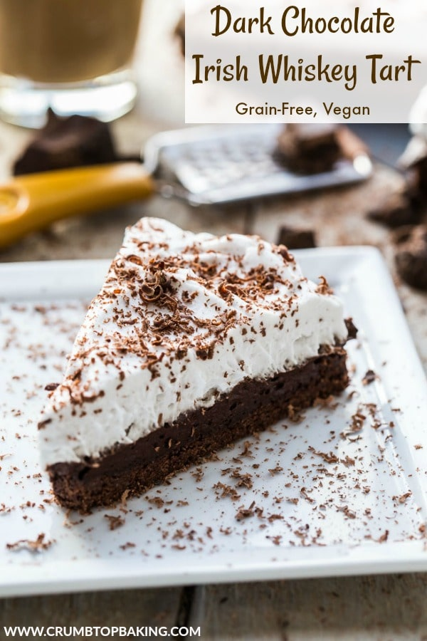 Pinterest image for Dark Chocolate Irish Whiskey Tart.