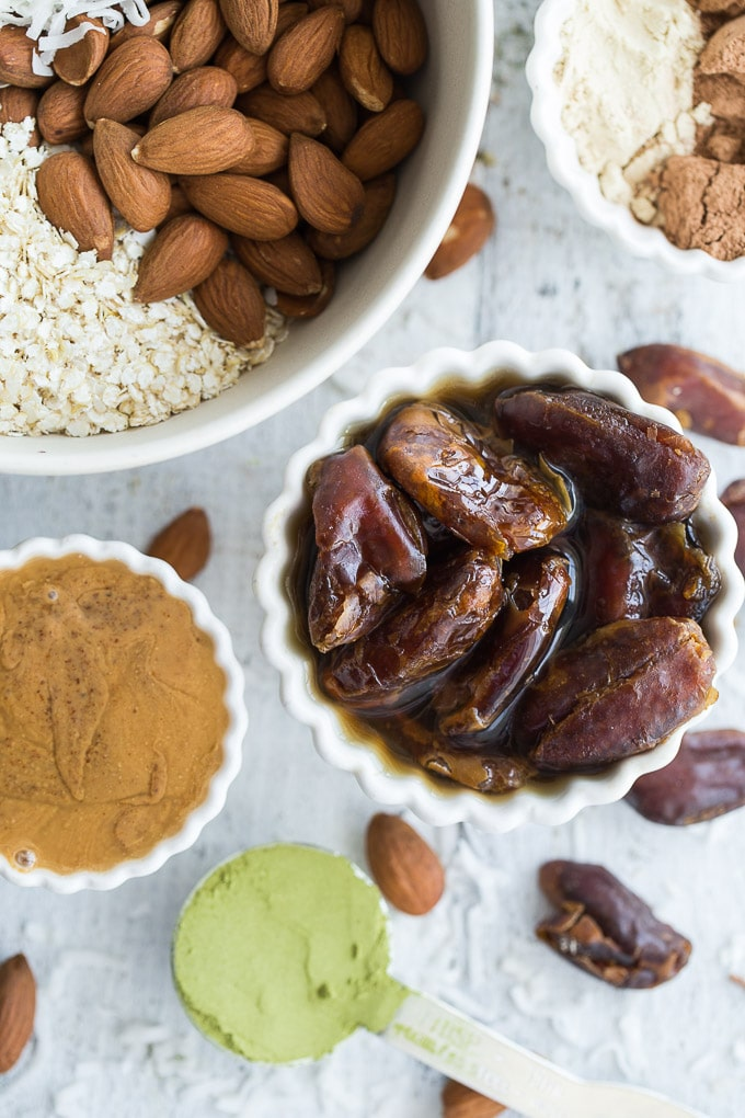 Overhead view of ingredients to make Cacao Almond Protein Bites.
