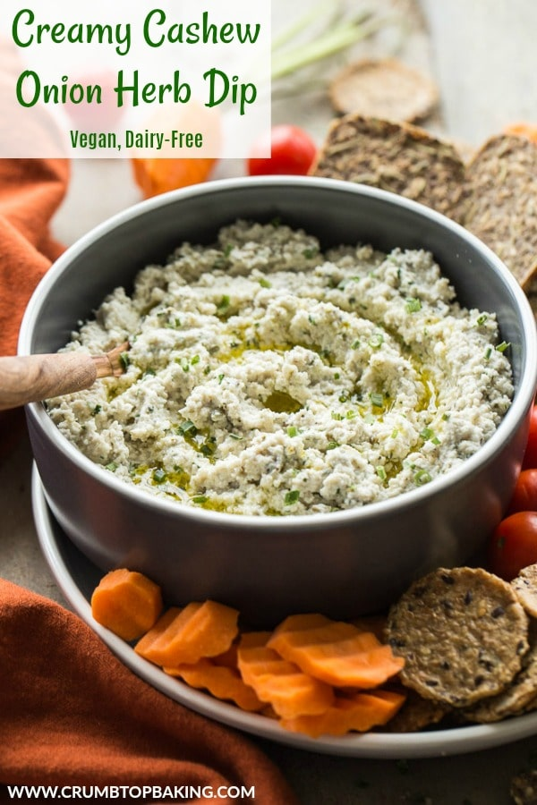 Pinterest image for Creamy Cashew Onion Herb Dip.