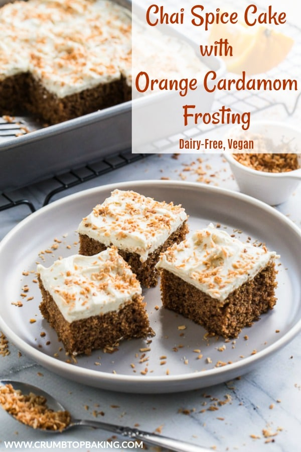 Pinterest image for Chai Spice Cake with Orange Cardamom Frosting.