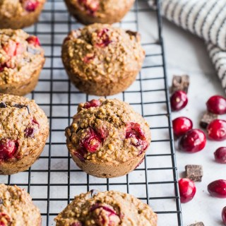 Cranberry Orange Overnight Oatmeal Muffins cooling on a wire rack.