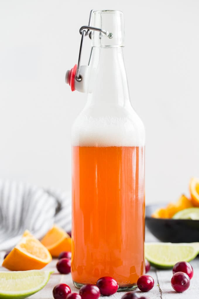 Side view of a bottle of orange cranberry ginger kombucha against a white background.