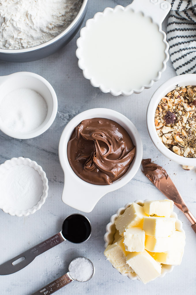 Overhead view of ingredients to make Chocolate Hazelnut Caramel Rolls.
