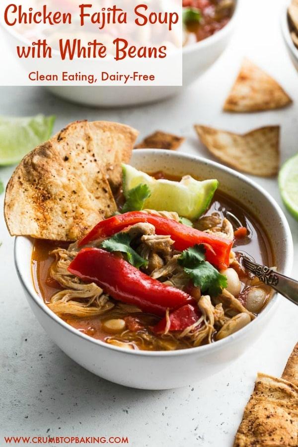 Pinterest image for Chicken Fajita Soup.