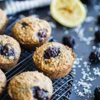 Blackberry Lemon Overnight Oatmeal Muffins