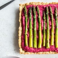Beet Hummus Asparagus Tart with Almond Crust