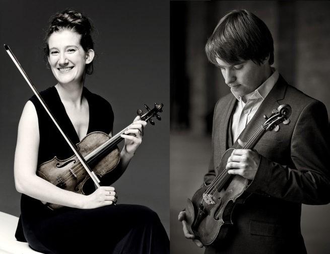 Maria Milstein viool en Mathieu van Bellen viool zondagmiddag 10 januari 2021