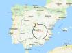 Map of Spain with La Mancha region circled