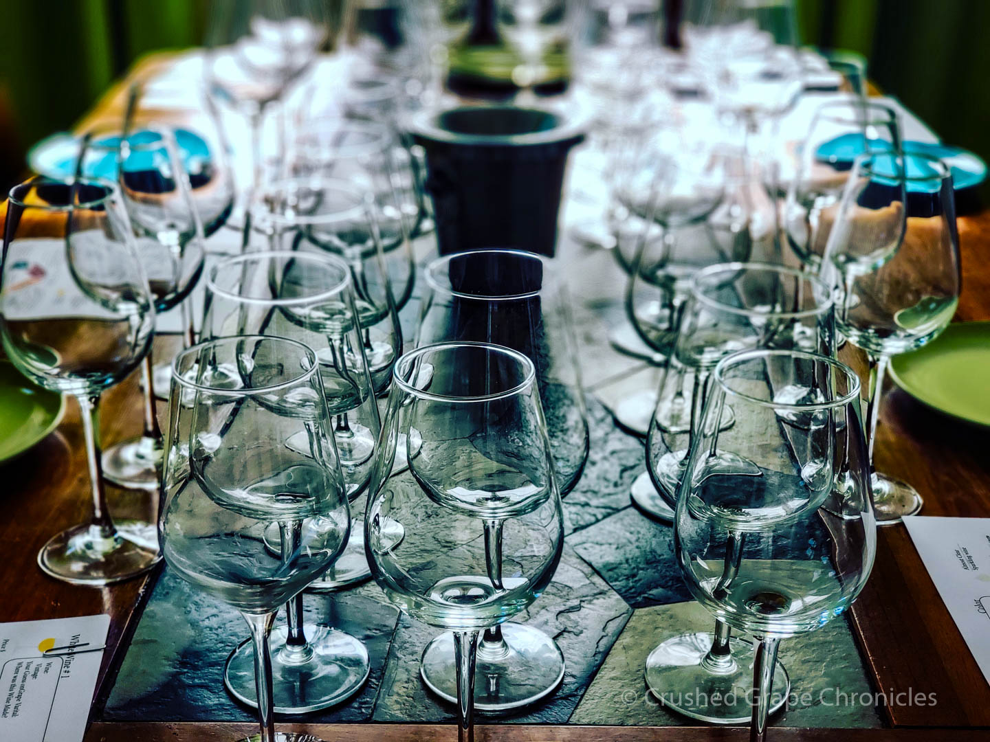 Table set for a blind tasting