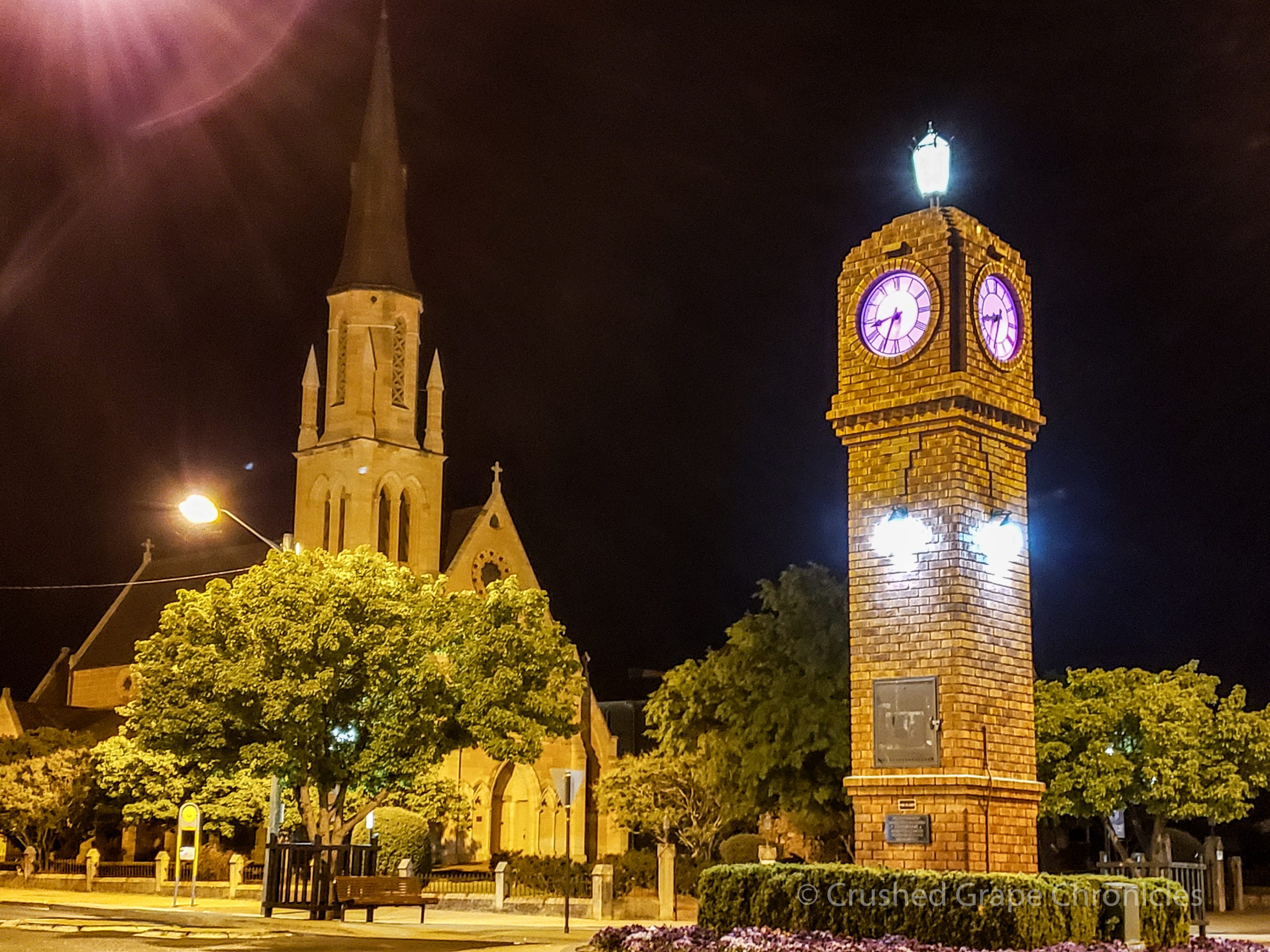 The Mudgee clock tower at night NSW Australia