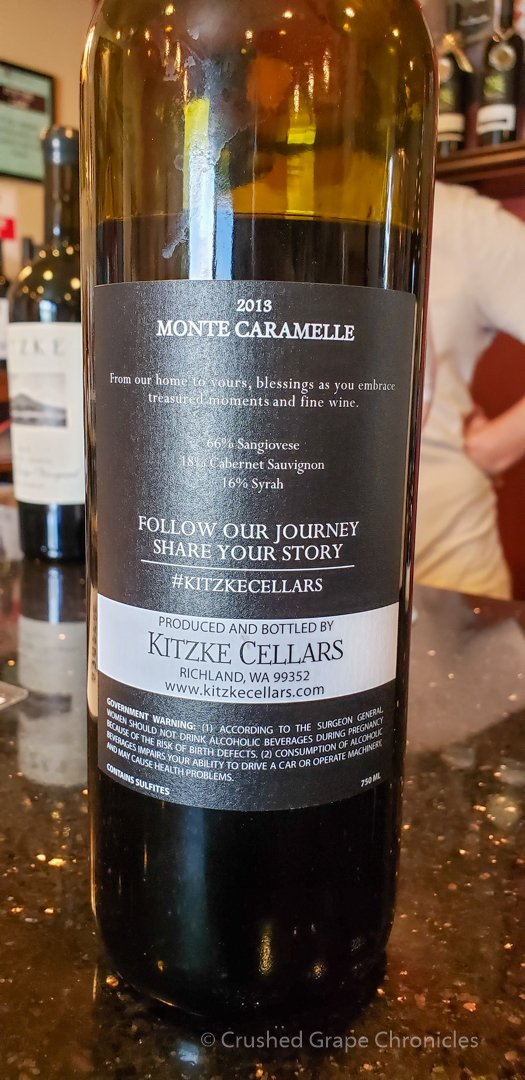 Back label of the '13 Monte Caramelle Kitzke Cellars