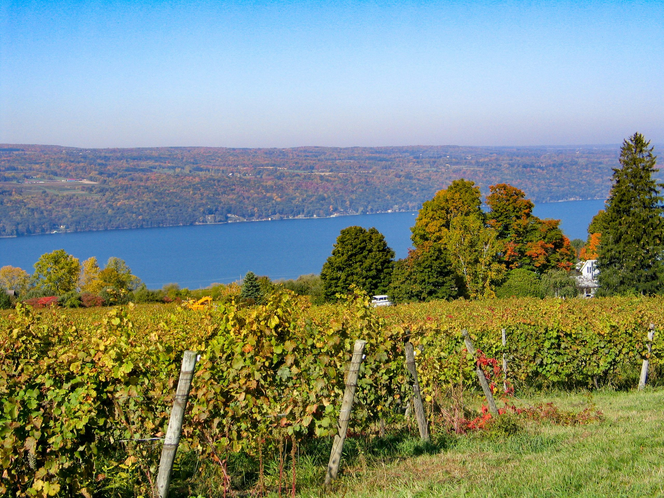 A crisp autumn day over looking Seneca Lake in New York's Finger Lakes Wine Country