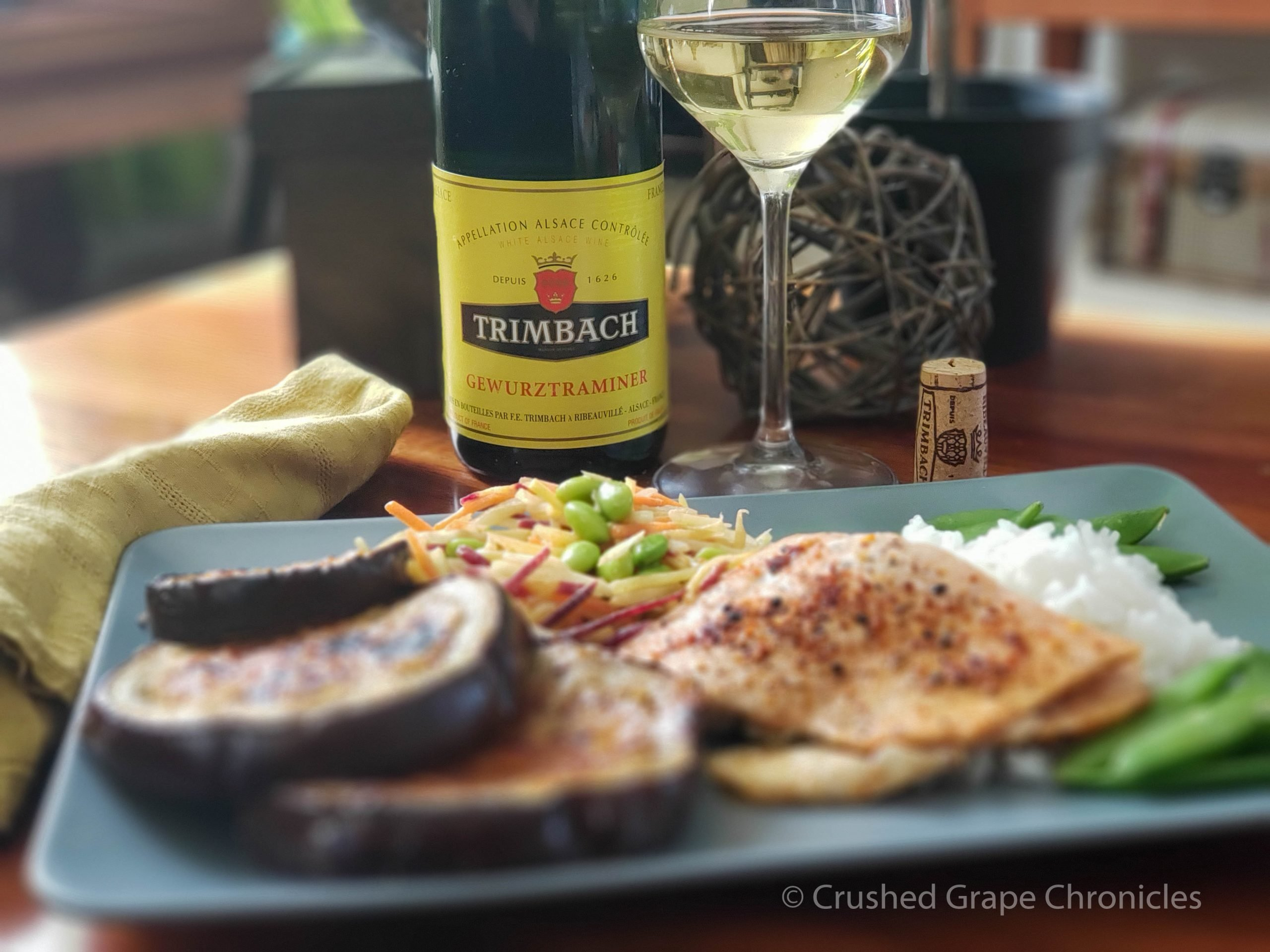 Trimbach 2016 Gewurztraminer with Roasted Togarashi salmon with miso-glazed eggplant from Sun Basket