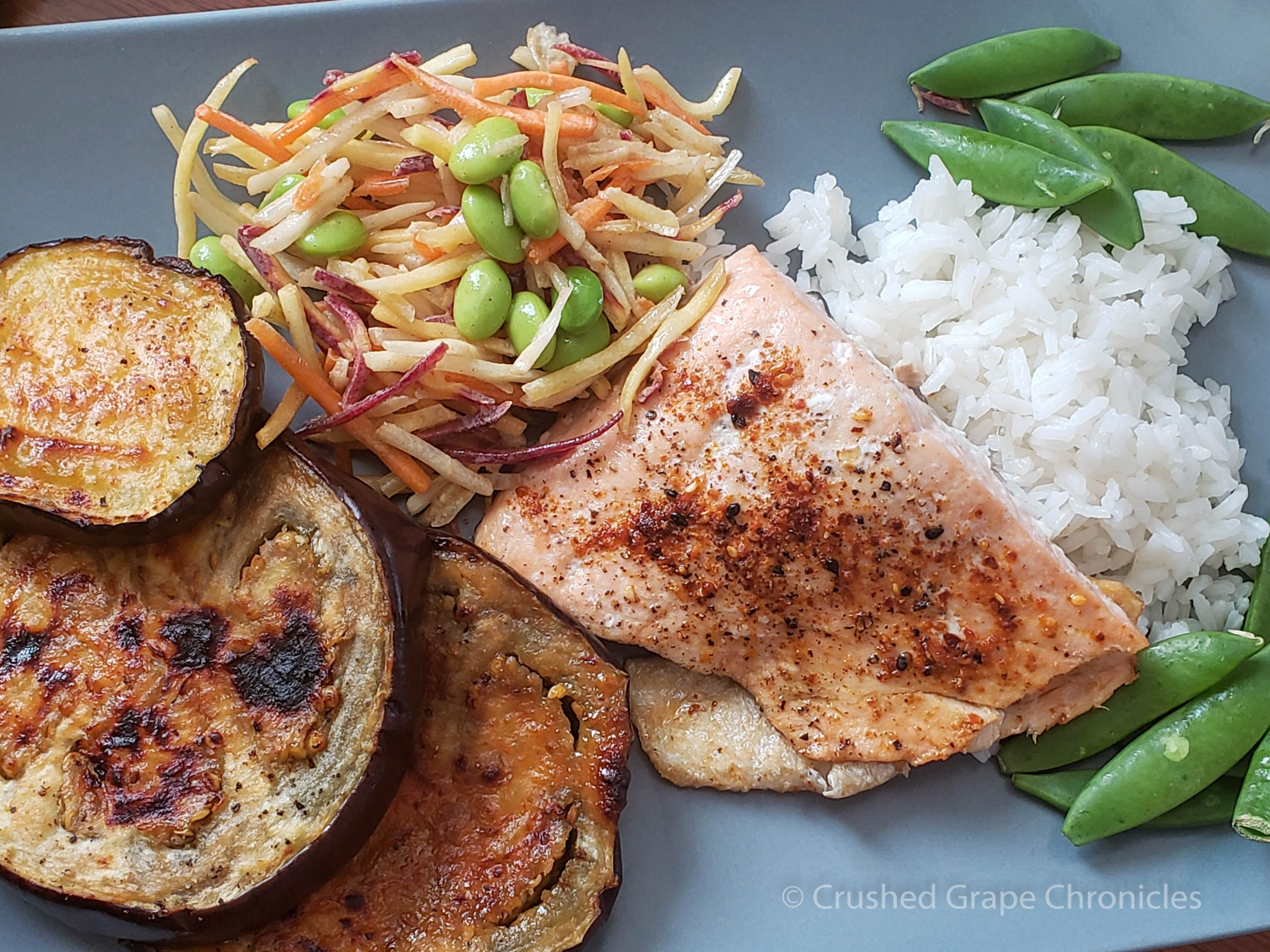 Roasted Togarashi salmon with miso-glazed eggplant from Sun Basket