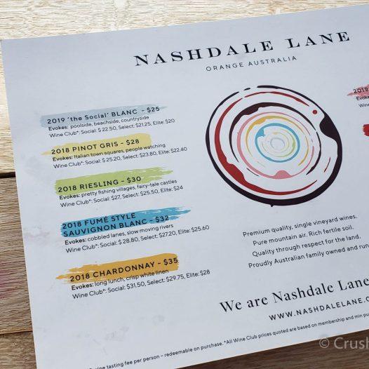 The wine menu at Nashdale Lane in NSW Australia