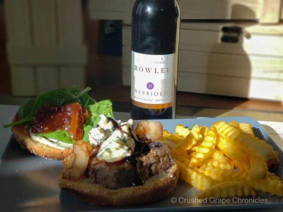 Blue Cheese bacon burger with tomato marmalade and the 2018 Rowlee Nebbiolo from NSW Australia