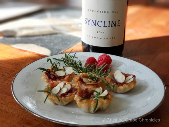 Syncline 2017 Subduction Red with bacon, brie, raspberry phyllo bites