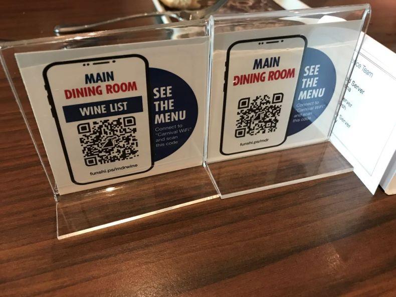 QR code menus on a cruise