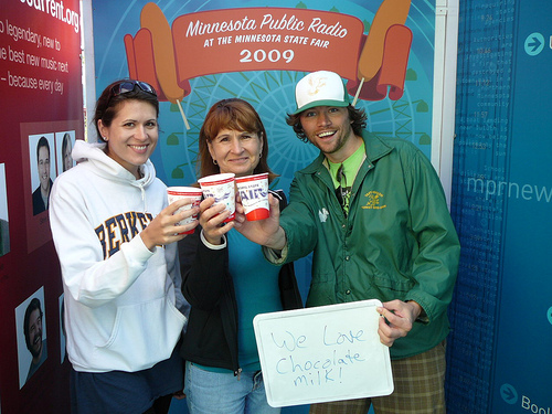 Lisa, Mrs. Morgel, and Toby at the Minnesota State Fair