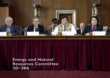 At last week's Senate hearing on ANWR, the sartorial choices between the Gwich'in (3rd from left) and Iñupiat (fourth from left) witnesses were clear.