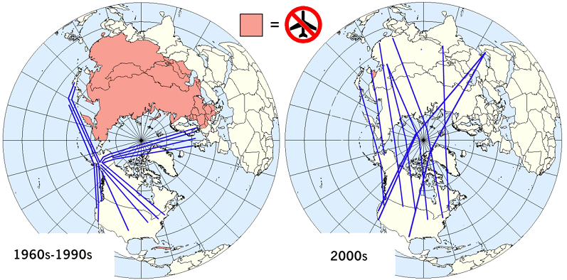 Aviation between the US and Asia in the Cold War versus today, when overflight of Russia is possible.
