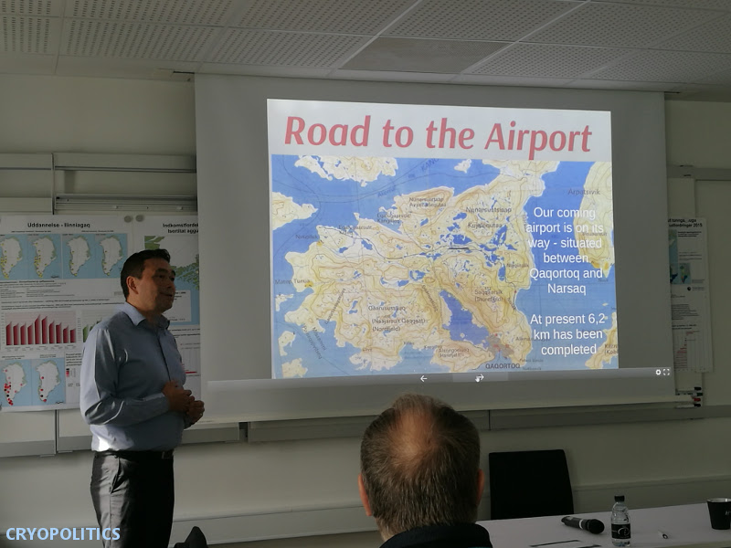 Listening to a presentation on Qaqortoq, Greenland's new road to the airport. September 2017.